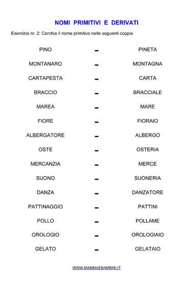Nomi primitivi e derivati n.2, esercizi da stampare