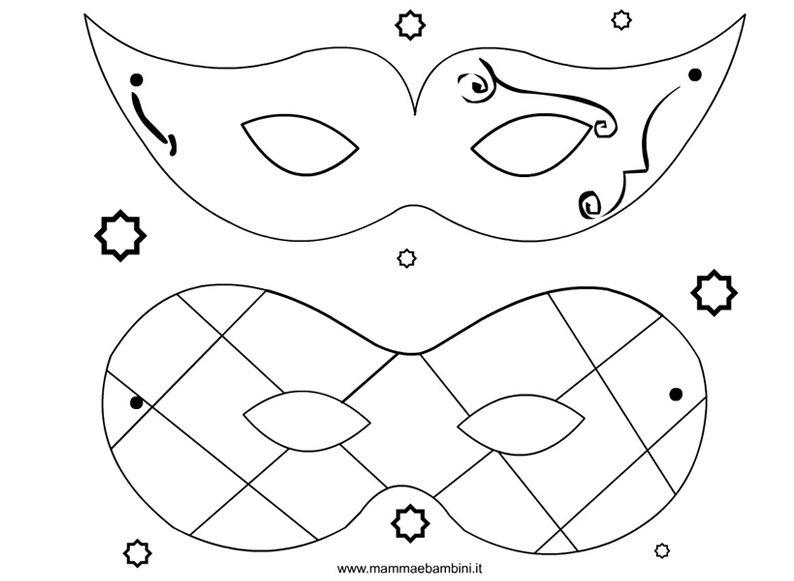 Disegno maschere da colorare