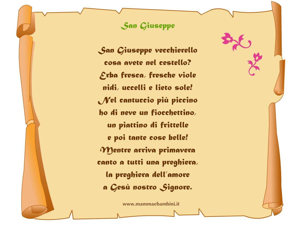 Poesia San Giuseppe su pergamena