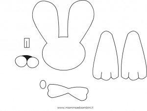Sagome coniglio verde mamma e bambini for Disegno coniglio per bambini