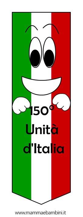 Segnalibro festa 150 Unità d'Italia da stampare