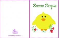 Biglietto Pasqua da stampare: pulcino giallo