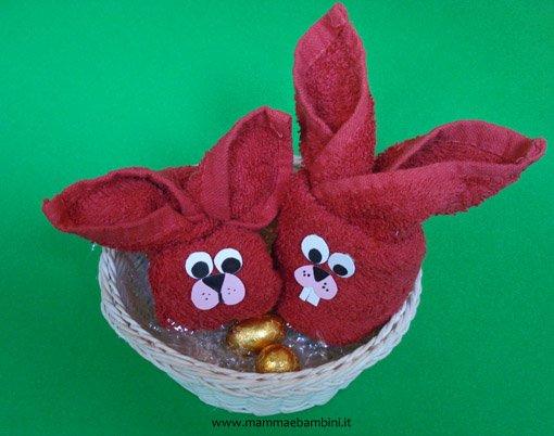 Idee lavoretti pasqua coniglio con asciugamano n 2 for Animali con asciugamani