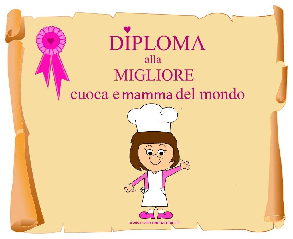Diploma per la mamma cuoca da stampare