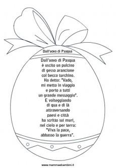 Poesia per Pasqua con cornice ad uovo