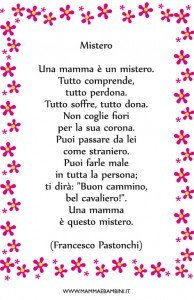 Poesia sulla mamma in cornice: Mistero