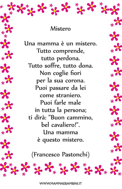 Eccezionale Poesia Che cos'è una mamma - Mamma e Bambini RF21