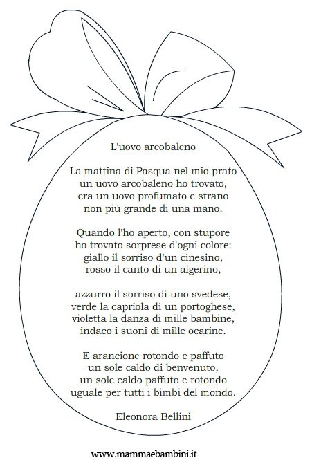 poesie per pasqua da stampare mamma e bambini