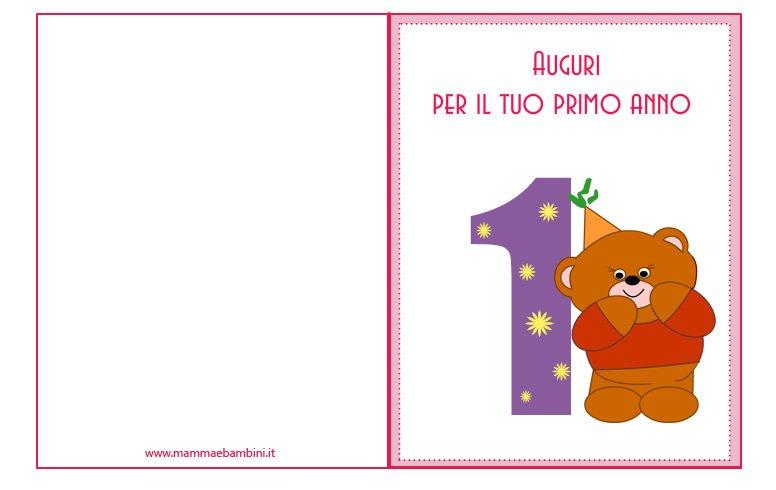 Preferenza Biglietti compleanno 1 anno da stampare - Mamma e Bambini PJ83