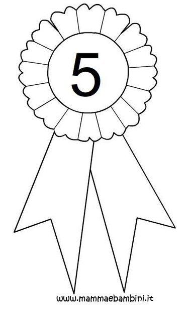 Coccarda da colorare con numeri 4 5 e 6 mamma e bambini - Numeri per tavoli da stampare ...
