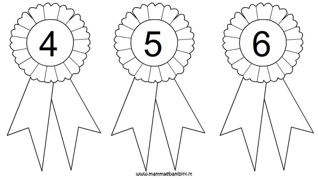 Estremamente Coccarda da colorare con numeri 4, 5 e 6 - Mamma e Bambini GU07