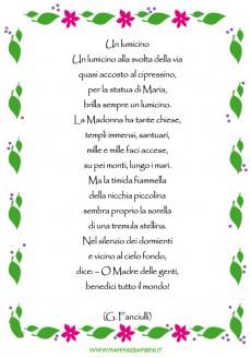 """Poesia sulla Madonna con cornice """"Un lumicino"""""""
