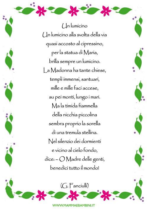 Poesia sulla Madonna dal titolo Un lumicino