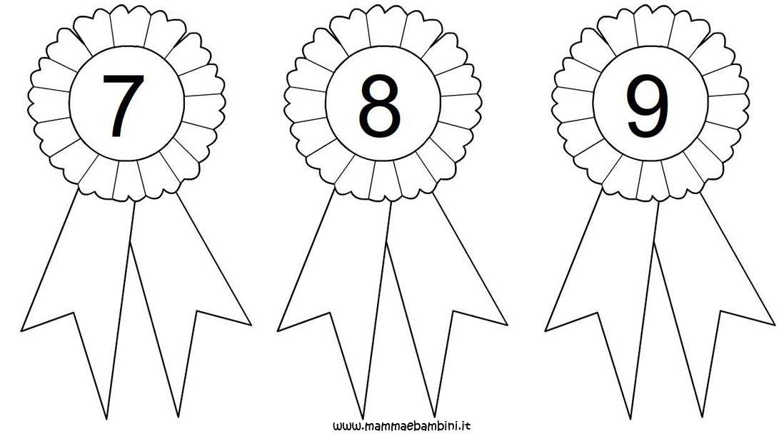 Coccarde da colorare con numeri 7-8-9