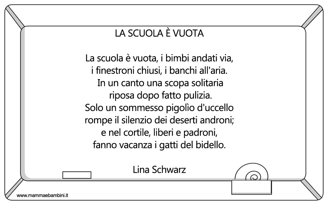 Popolare Poesia sulla fine della scuola: La scuola è vuota - Mamma e Bambini ZN33