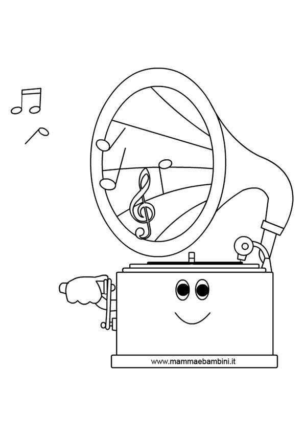 Disegno grammofono da colorare