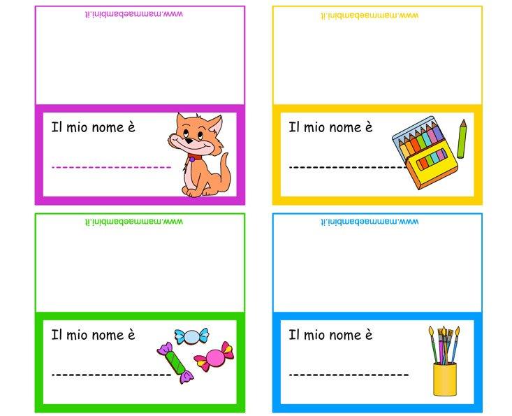 Exceptionnel Segnaposti scuola da stampare - Mamma e Bambini SE16