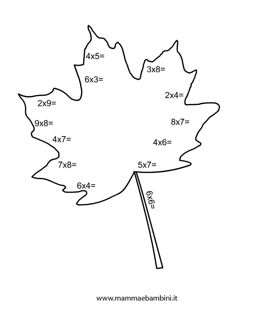 Esercizio tabelline con disegno della foglia