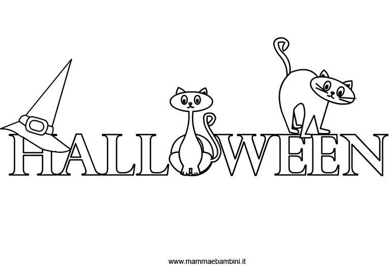 Cartello scritta Halloween da colorare