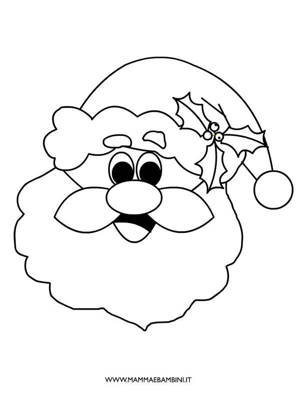 Faccia di Babbo Natale da colorare