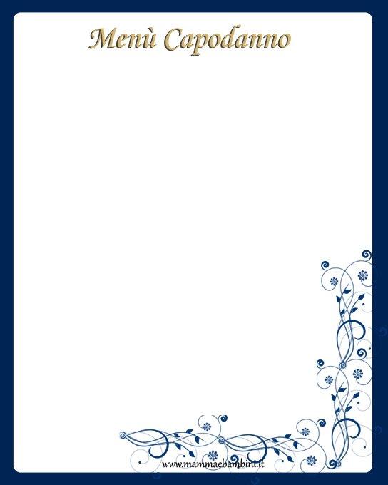 Conosciuto Foglio Menù per Capodanno da stampare - Mamma e Bambini KW12