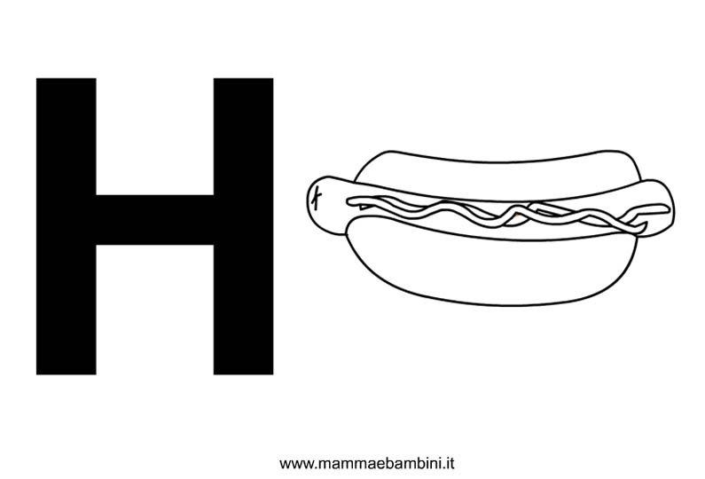 Ben noto Lettere alfabeto con disegni: la H - Mamma e Bambini DX55