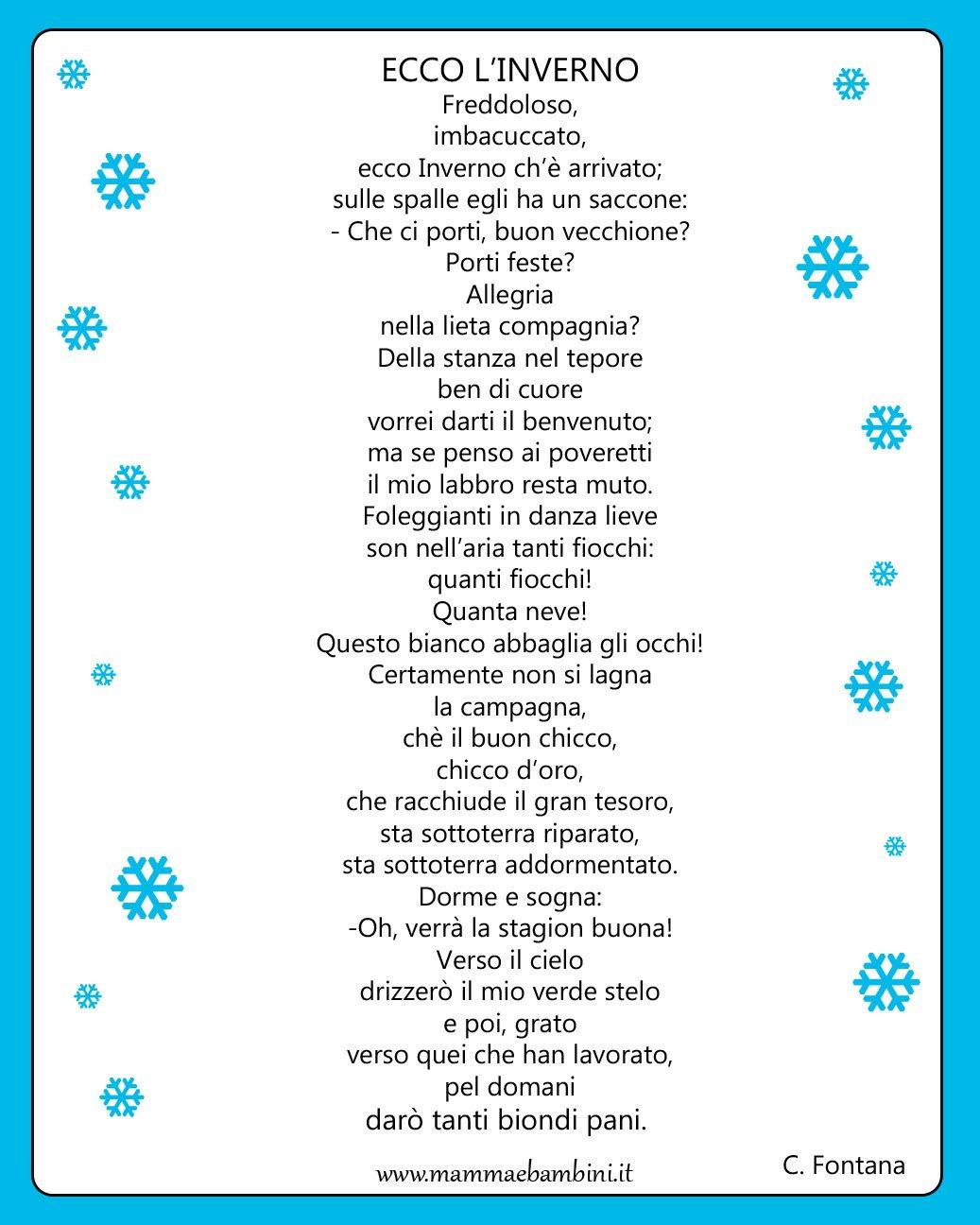 Poesia con cornice: Ecco l'inverno
