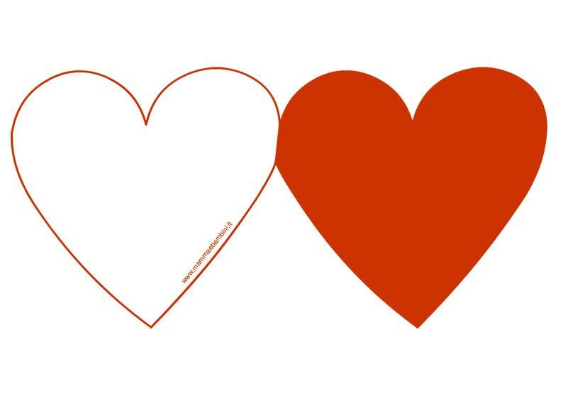 Biglietto a forma di cuore rosso da stampare mamma e bambini for Disegni da colorare con cuori