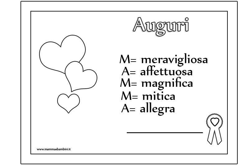 Diploma Da Stampare Per Gli Auguri Alla Mamma Mamma E Bambini