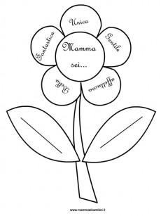 Fiore da colorare con dedica per la mamma