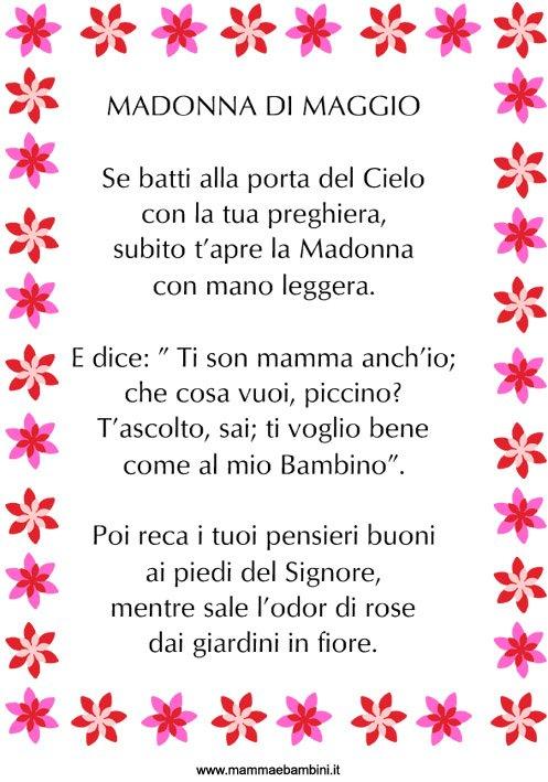Poesia Madonna di Maggio in cornice