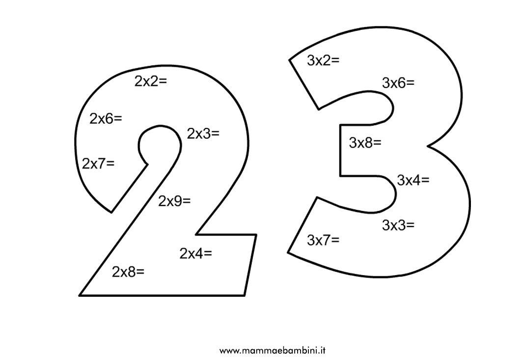 Scheda sulla tabellina del 2 e del 3