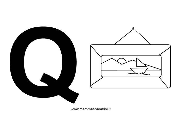 Lettere alfabeto con disegni: lettera Q