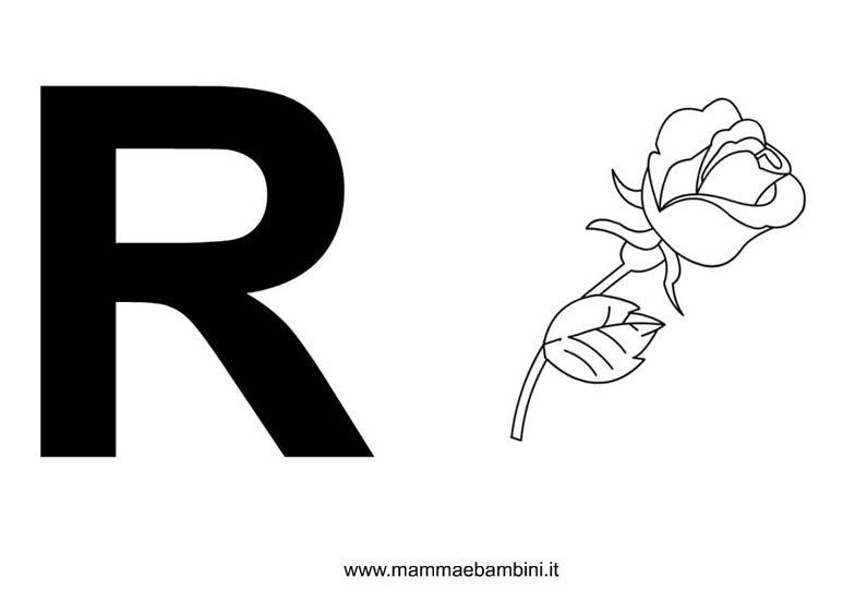 Lettere alfabeto con disegni: la R