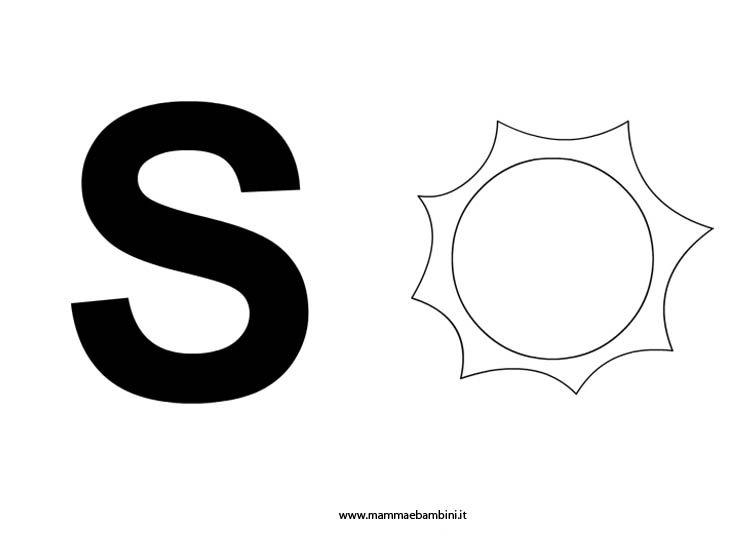 Lettere alfabeto con disegni: la S