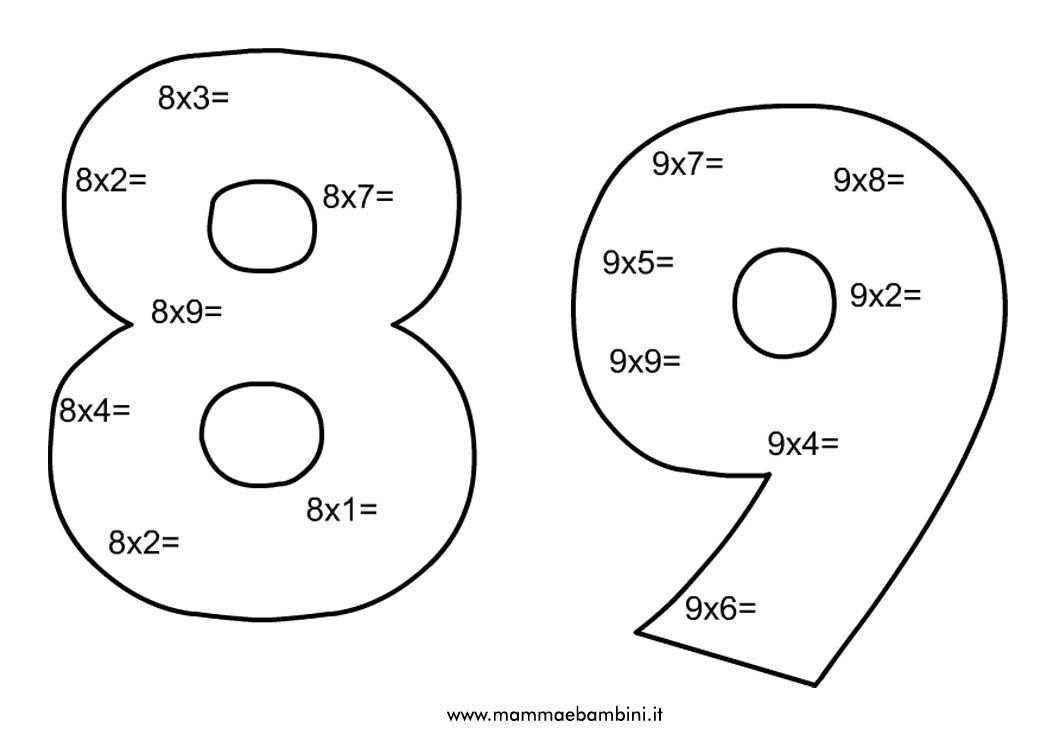 Estremamente Schede di matematica sulle tabelline da stampare - Mamma e Bambini OU94