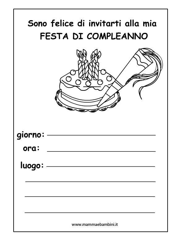 Preferenza Inviti festa compleanno da colorare per bambini - Mamma e Bambini YS03