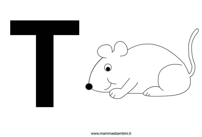 Lettere alfabeto con disegni: la T