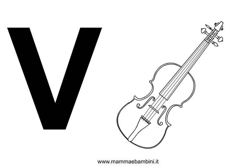 Lettere alfabeto con disegni: la V