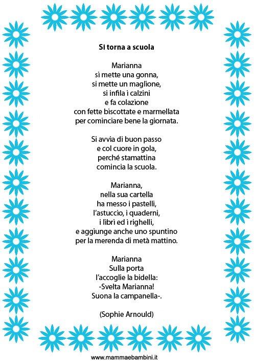 Conosciuto Raccolta poesie sul primo giorno di scuola - Mamma e Bambini TO61