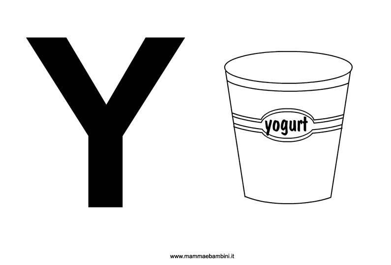 Lettera Y con disegno da stampare