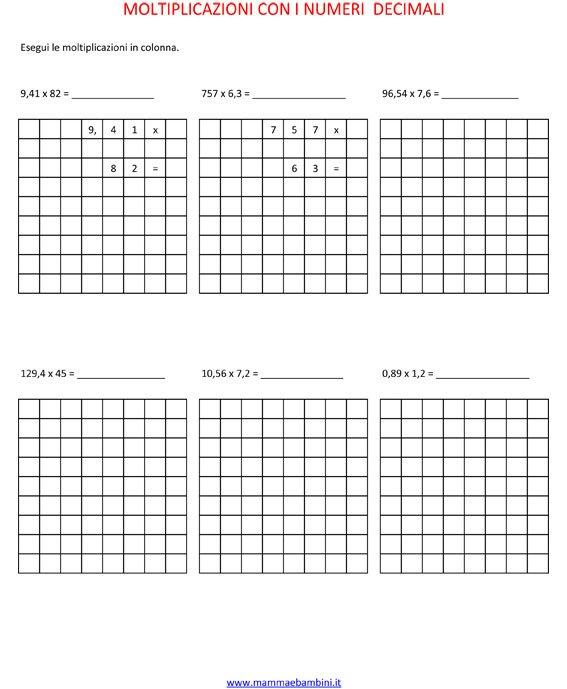 Operazioni sulle moltiplicazioni con i decimali