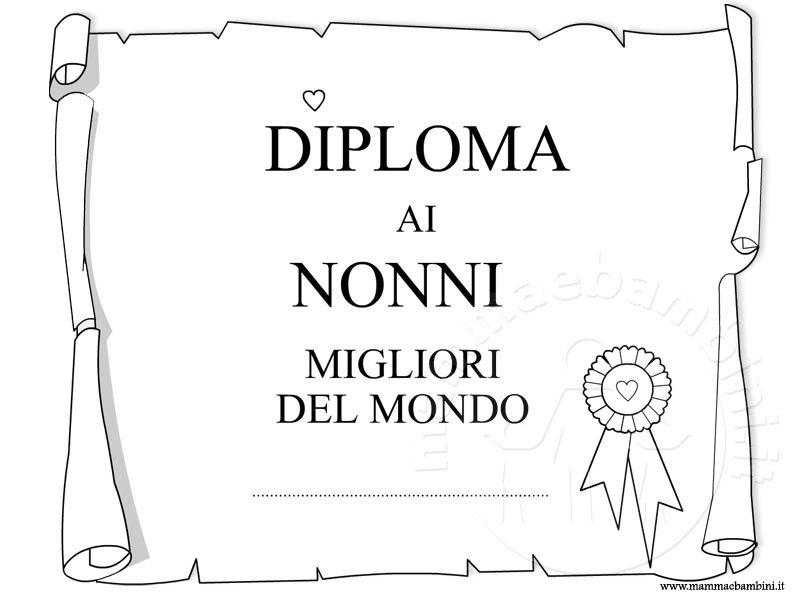 Diplomi Da Stampare E Colorare Per I Nonni Mamma E Bambini