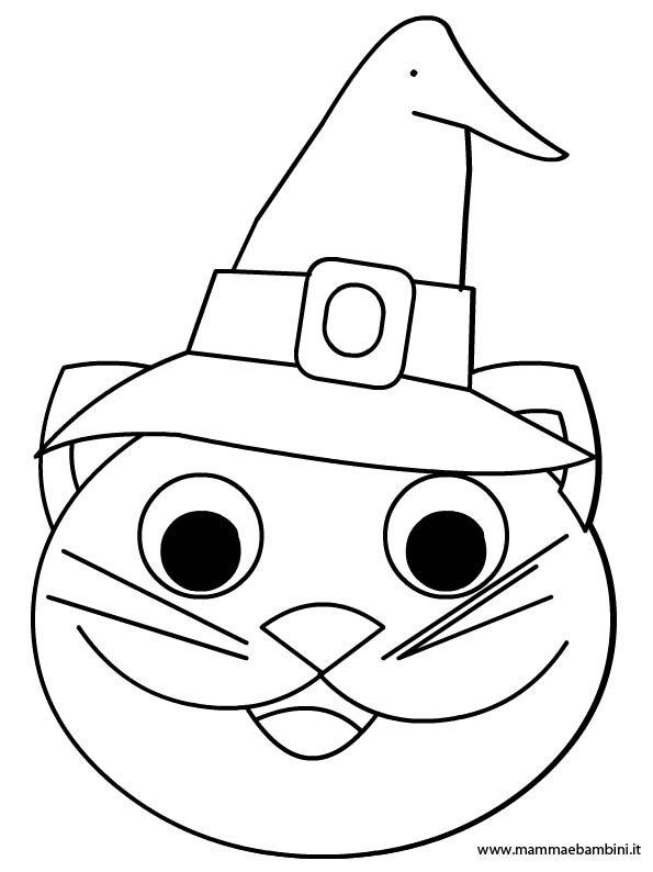 Faccia gatto da colorare per Halloween