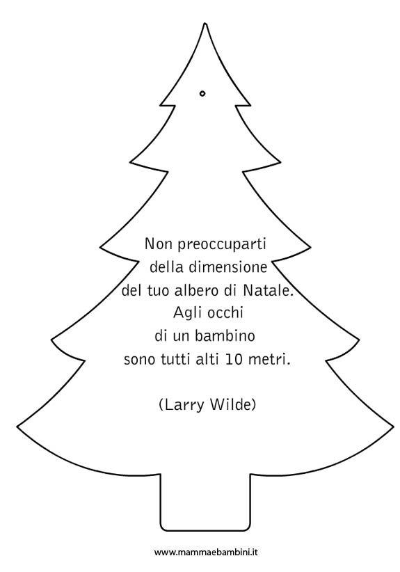 Sagoma albero di Natale da colorare con frase
