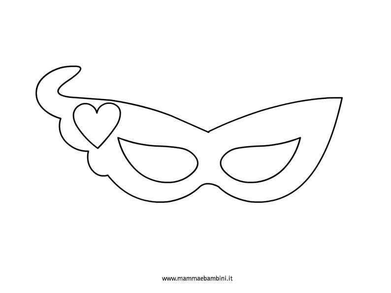 maschera con cuore da colorare