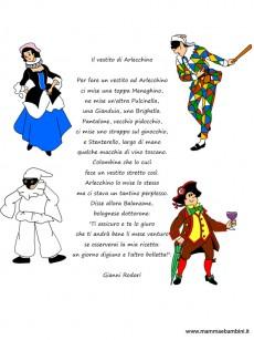 Poesia Il vestito di Arlecchino con disegni delle maschere