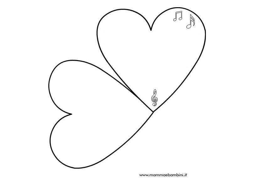 Biglietto a forma di cuore da stampare