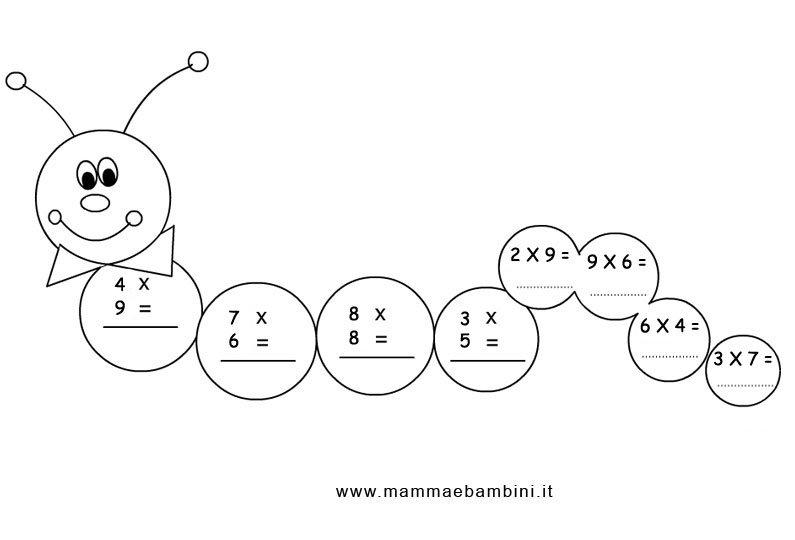 Esercizi matematica archivi mamma e bambini for Immagini da colorare bruco