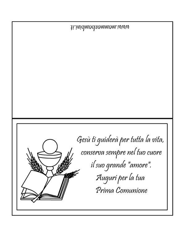 Biglietto con frase da stampare per la Prima Comunione